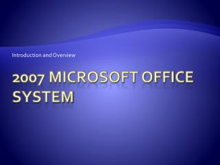 2007 Microsoft Office System