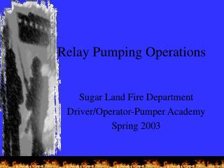 Relay Pumping Operations
