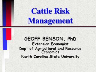 Cattle Risk Management