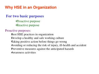 Why HSE in an Organization