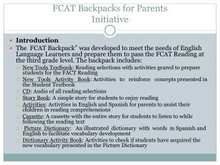FCAT Backpacks for Parents Initiative