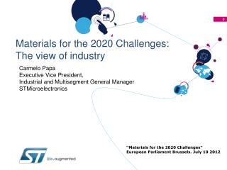 Materials for the 2020 Challenges: The view of industry