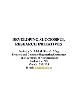 DEVELOPING SUCCESSFUL RESEARCH INITIATIVES
