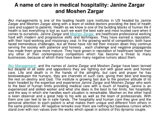 A name of care in medical hospitality: Janine Zargar