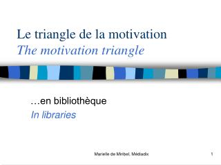 Le triangle de la motivation The motivation triangle