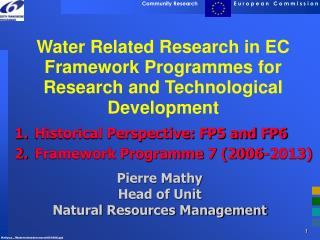 Water Related Research in EC Framework Programmes for Research and Technological Development