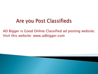 Are you post classifieds ads?