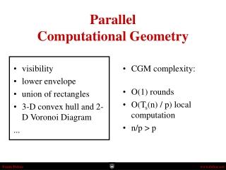 Parallel Computational Geometry