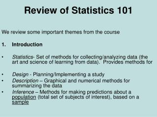 Review of Statistics 101