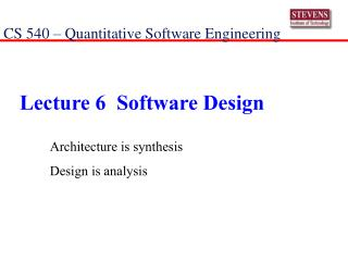 Lecture 6  Software Design