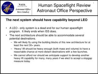 Human Spaceflight Review Astronaut Office Perspective