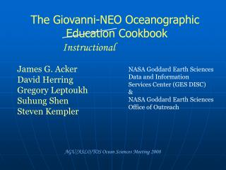 The Giovanni-NEO Oceanographic  Education Cookbook