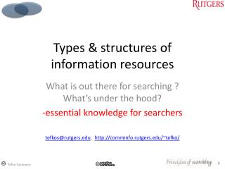 Types & structures of information resources