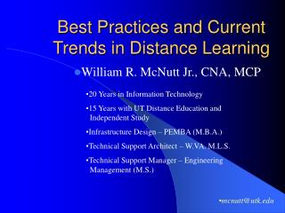 Best Practices and Current Trends in Distance Learning