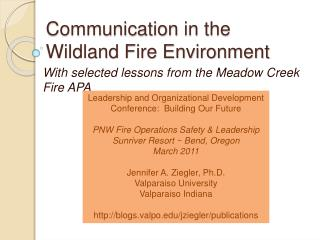 Communication in the Wildland Fire Environment