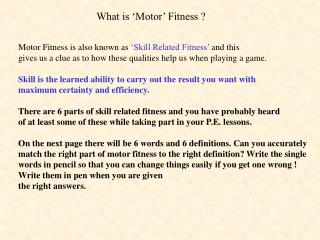 What is 'Motor' Fitness ?