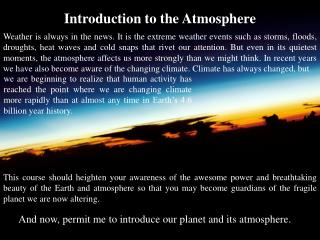 Introduction to the Atmosphere