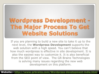 Wordpress Development - The Major Process To Get Website Sol