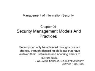 Management of Information Security   Chapter 06  Security Management Models And Practices