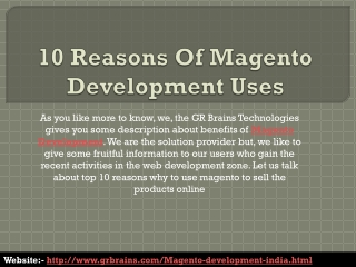 10 Reasons Of Magento Development Uses