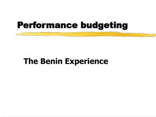 Performance budgeting