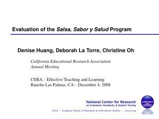 Evaluation of the Salsa, Sabor y Salud Program