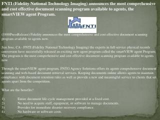 fnti (fidelity national technology imaging) announces the mo