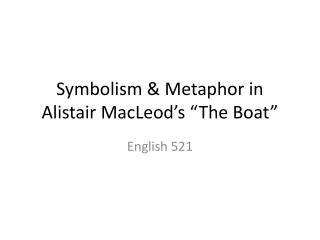 "Symbolism & Metaphor in Alistair MacLeod's ""The Boat"""