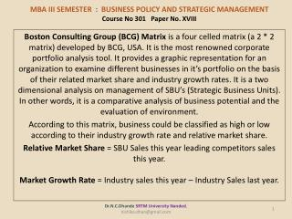 MBA III SEMESTER : Business policy and strategic management Course No 301 Paper No. XVIII