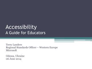 Accessibility A Guide for Educators