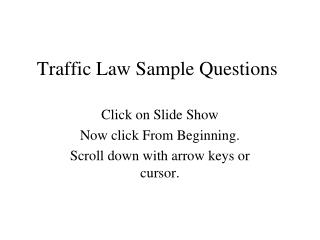 Traffic Law Sample Questions