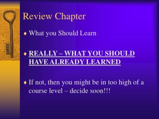 Review Chapter