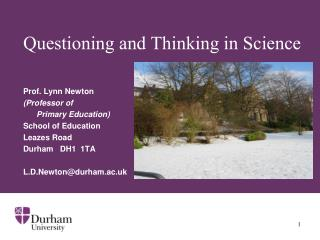 Questioning and Thinking in Science