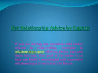 Relationship Advice, Relationship Expert