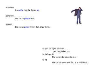 to put on / get dressed I put the jacket on. to belong to The jacket belongs to me. to fit The jacket does not fit.  It