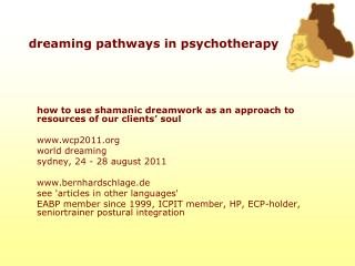 Dreaming pathways in psychotherapy