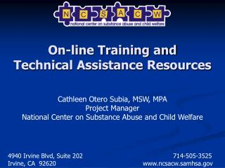 On-line Training and  Technical Assistance Resources