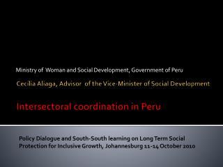 Cecília Aliaga, Advisor of the Vice-Minister of Social Development Intersectoral coordination in Peru