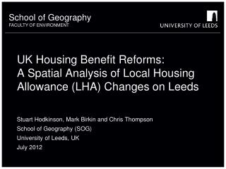 UK Housing Benefit Reforms:  A Spatial Analysis of Local Housing Allowance LHA Changes on Leeds