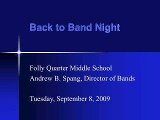 Back to Band Night