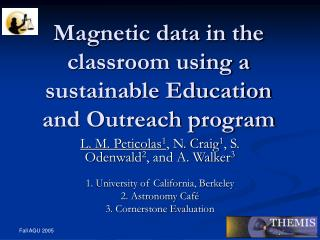 Magnetic data in the classroom using a sustainable Education and Outreach program
