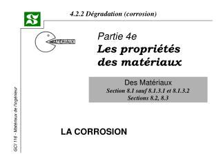 Partie 4e Les propriétés des matériaux