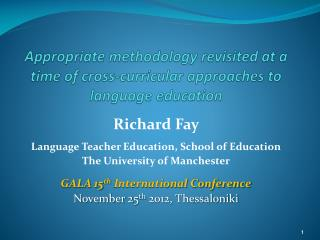 Appropriate methodology revisited at a time of cross-curricular approaches to language education