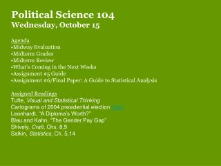 Political Science 104 Wednesday, October 15