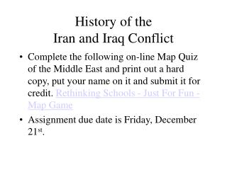 History of the  Iran and Iraq Conflict