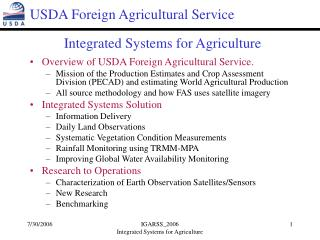 Integrated Systems for Agriculture