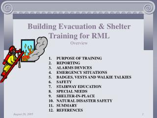 Building Evacuation & Shelter Training for RML Overview
