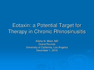 Eotaxin: a Potential Target for Therapy in Chronic Rhinosinusitis