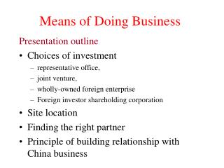 Means of Doing Business