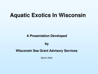 Aquatic Exotics In Wisconsin